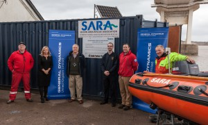 SARA Show General Dynamics & Celtic Recycling the new Container and resuce boat they will locate at celtic recycling at Newport